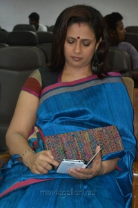 Tamil Actress Lakshmi Ramakrishnan Stills in Blue Silk Saree