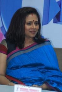 Actress Lakshmi Ramakrishnan in Blue Silk Saree Stills