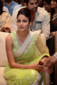 Telugu Actress Lavanya Tripathi in Yellow Green Saree Hot Photos