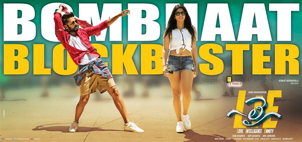 Nithin, Megha Akash in LIE Bombhaat Blockbuster Posters