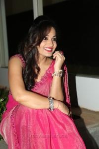 Telugu Actress Madhavi Latha Hot Pink Saree Stills