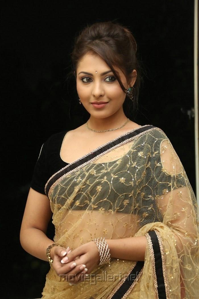 Actress In Transparent Blouse - Collar Blouses-2947