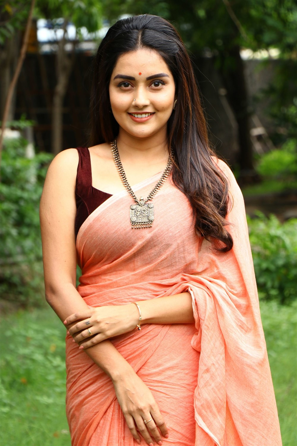 Magamuni Movie Actress Mahima Nambiar in Saree Pics