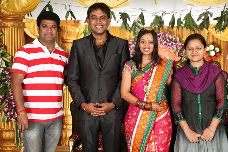 Shiva Reddy With Wife Swathi At Malavika Krishna Chaitanya Wedding Reception Stills