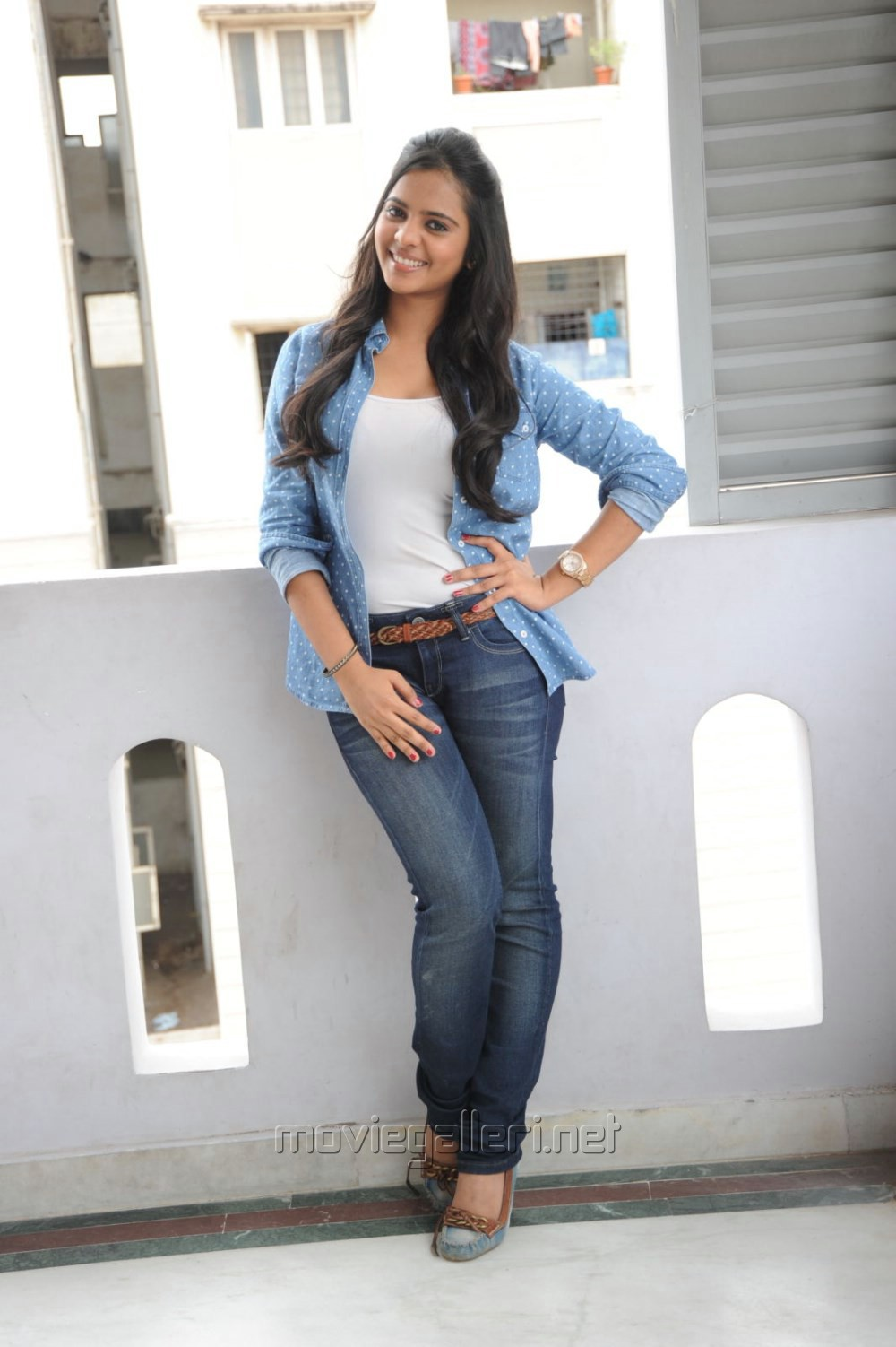 Picture 552892 | Manasa Himavarsha Hot Photos in White Top &amp Blue