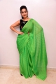 Anchor Manjusha in Green Saree Photos with Black Blouse