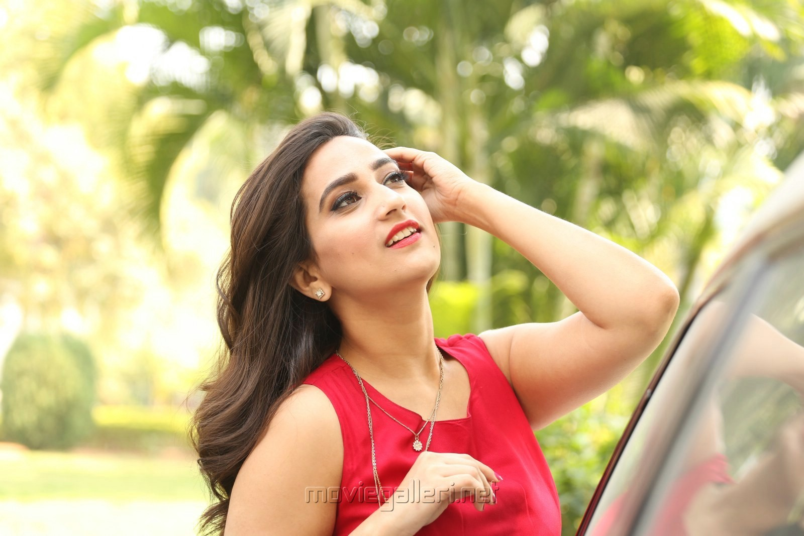 Telugu Anchor Manjusha Photos in Red Frock Dress