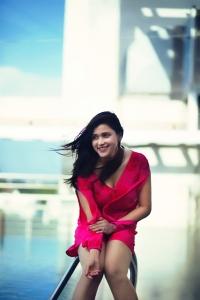 Actress Mannara Chopra Red Dress Hot Photoshoot Pictures