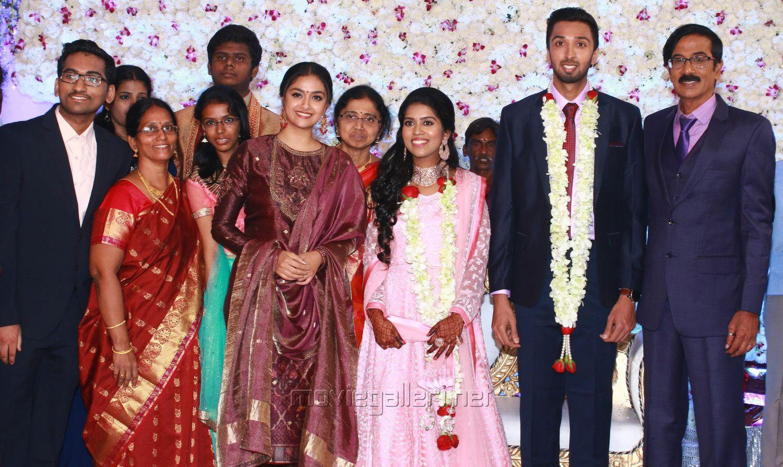 Actress Keerthy Suresh @ Manobala Son Harish Priya Wedding Reception Stills