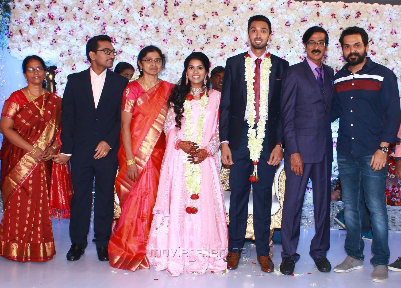 Karthi @ Manobala Son Harish Priya Wedding Reception Stills