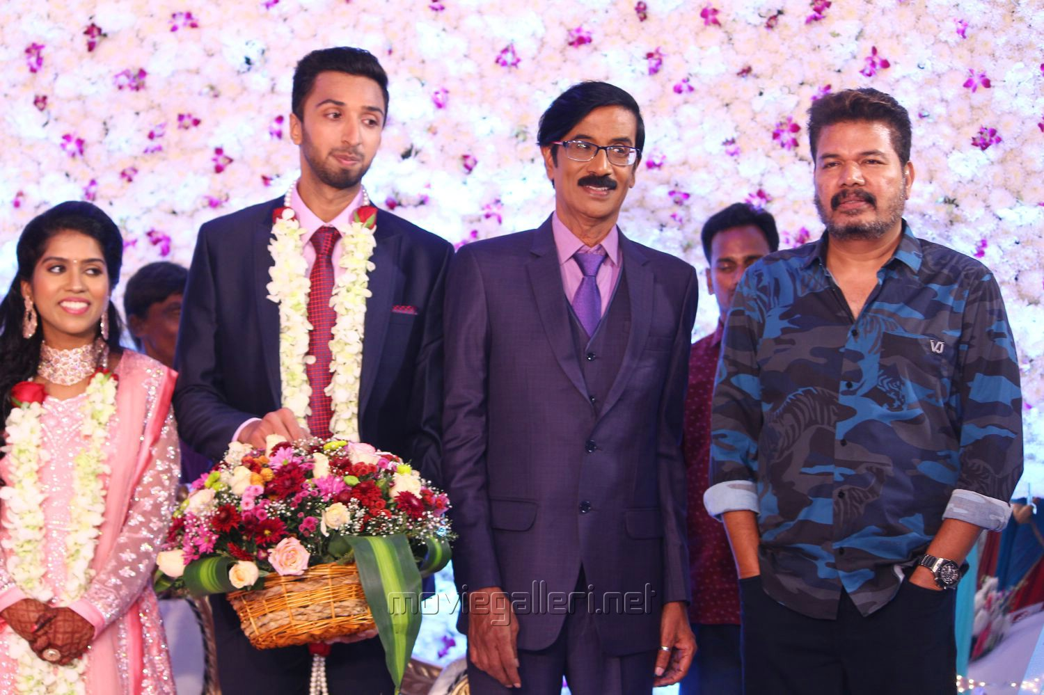 Director Shankar @ Manobala Son Harish Priya Wedding Reception Stills