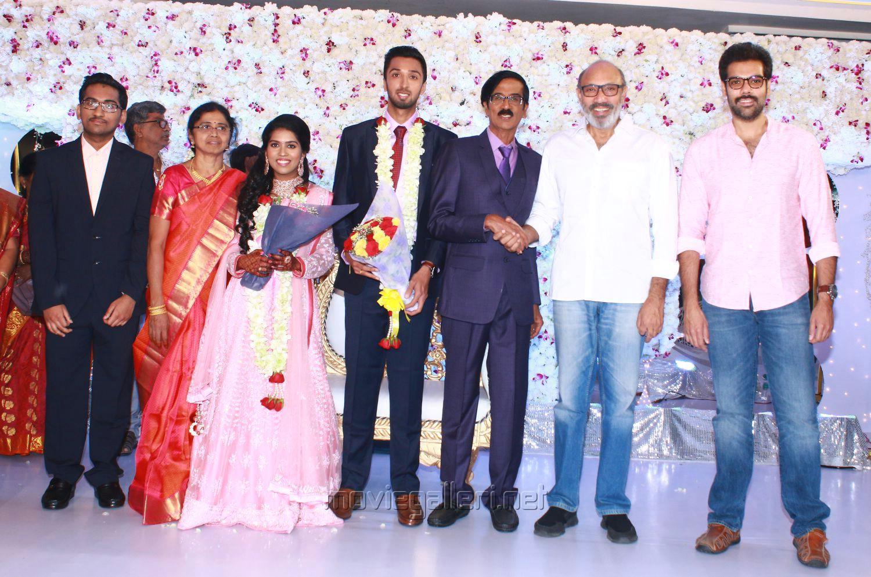 Sathyaraj, Sibiraj @ Manobala Son Harish Priya Wedding Reception Stills