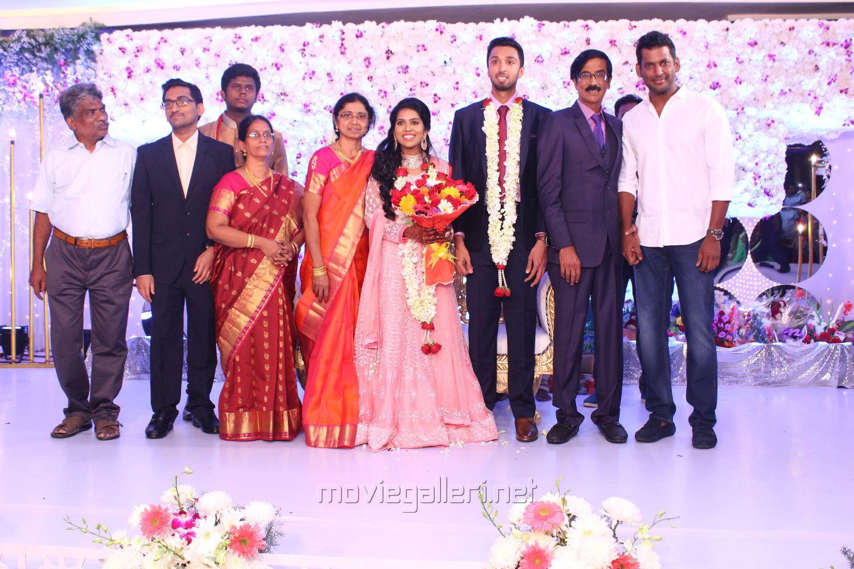 Actor Vishal @ Manobala Son Harish Priya Wedding Reception Stills