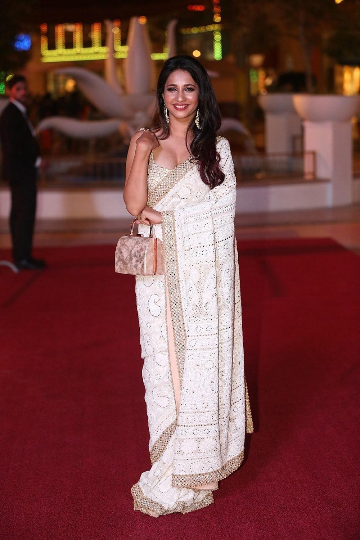 Actress Manvitha Hot Saree Photos @ SIIMA Awards 2018 Red Carpet