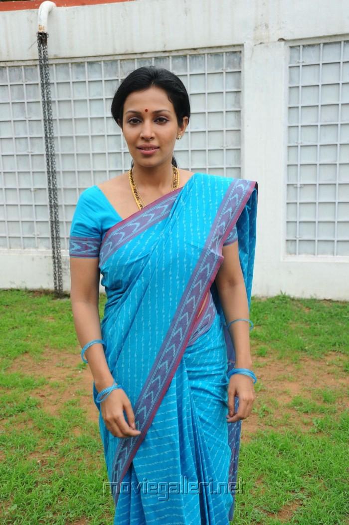 Actress Mayuri Asha Saini In Blue Saree S Stills Akasamlo Sagam