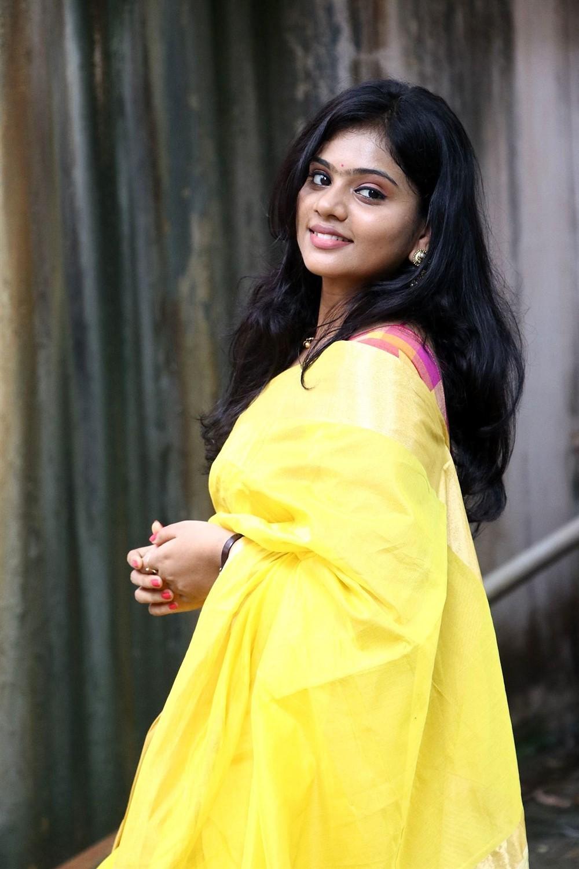 Actress Megana Saree Photos @ Veerapuram 220 Audio Launch
