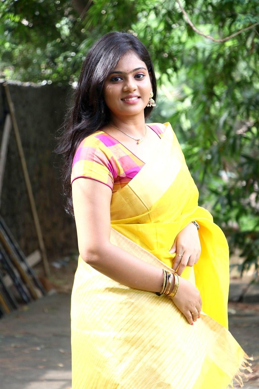 Actress Megana Saree Photos @ Veerapuram 220 Movie Audio Launch