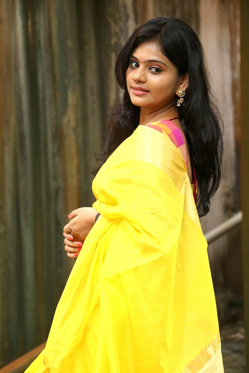 Actress Megana Saree Photos @ Veerapuram 220 Movie Audio Launch