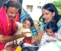 Mohan Babu with his twin grand-daughters Ariaana and Viviana