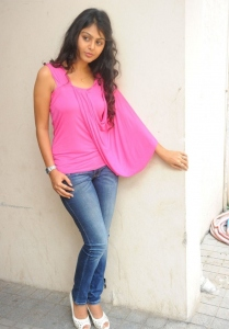 Monal Gajjar in Pink Sleeveless Top and Jeans
