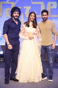 Akhil Akkineni, Pooja Hegde, Naga Chaitanya @ Most Eligible Bachelor Pre Release Event Stills