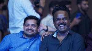 Bunny Vasu, Bommarillu Bhaskar @ Most Eligible Bachelor Pre Release Event Stills