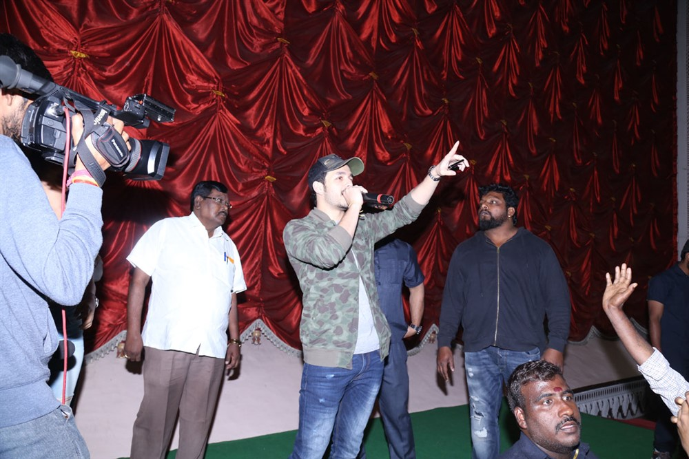 Akhil Akkineni @ Mr Majnu Team Theatre Coverage in Hyderabad