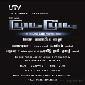Mugamoodi Movie Audio Songs Release Invitation Posters