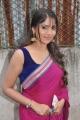 Muktha Bhanu Photos in Dark Pink Saree with Blue Sleeveless Blouse