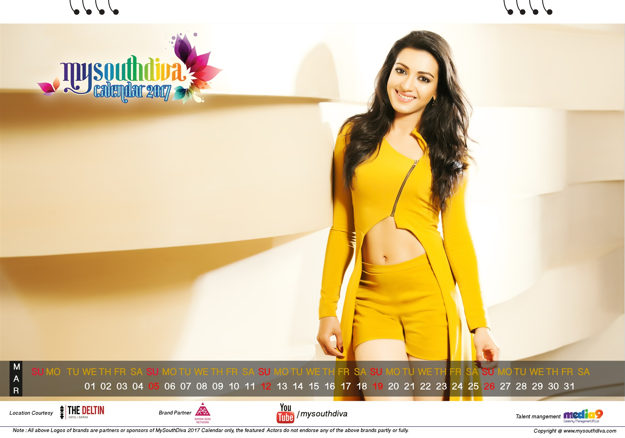 Actress Catherine Tresa My South Diva Calendar 2017 Wallpapers - March Month