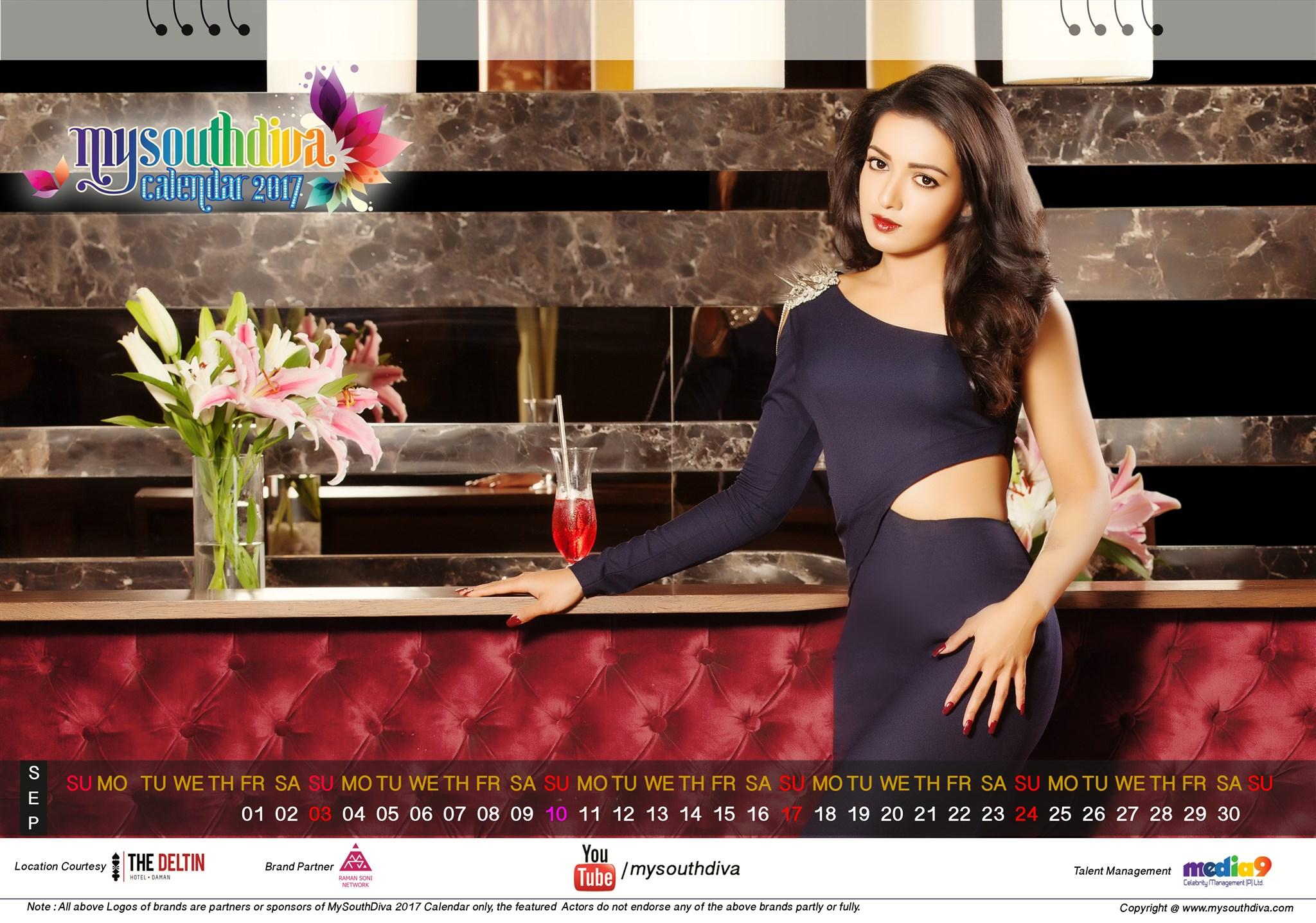Actress Catherine Tresa My South Diva Calendar 2017 Wallpapers - September Month