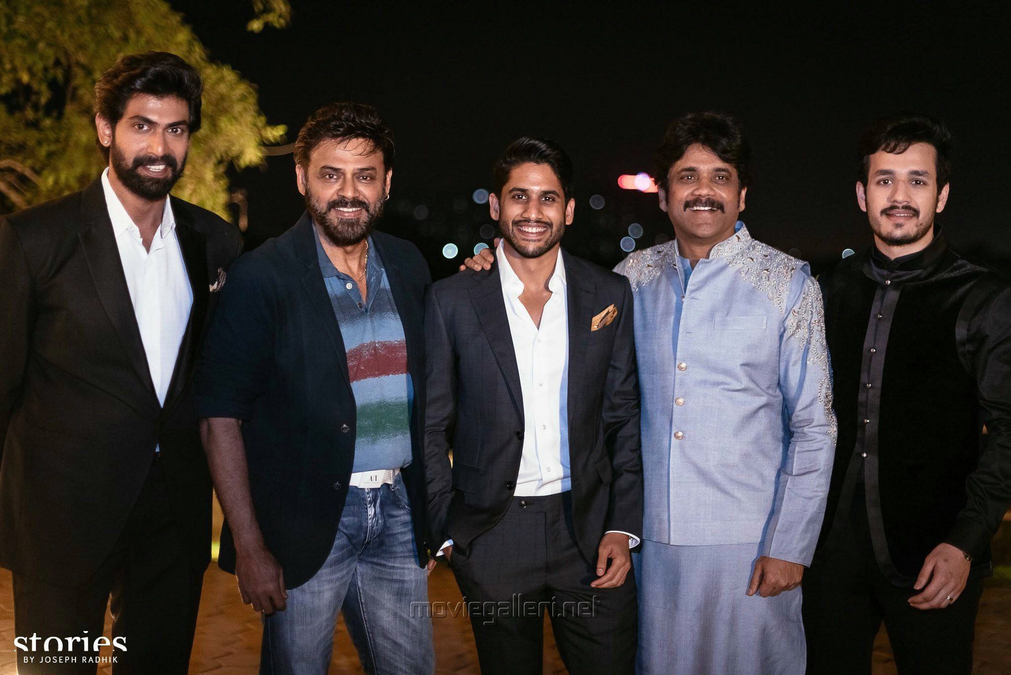 Image result for Also this photo of Naga Chaitanya, Rana Daggubati, Akhil Akkineni, Nagarjuna Akkineni and Venkatesh: