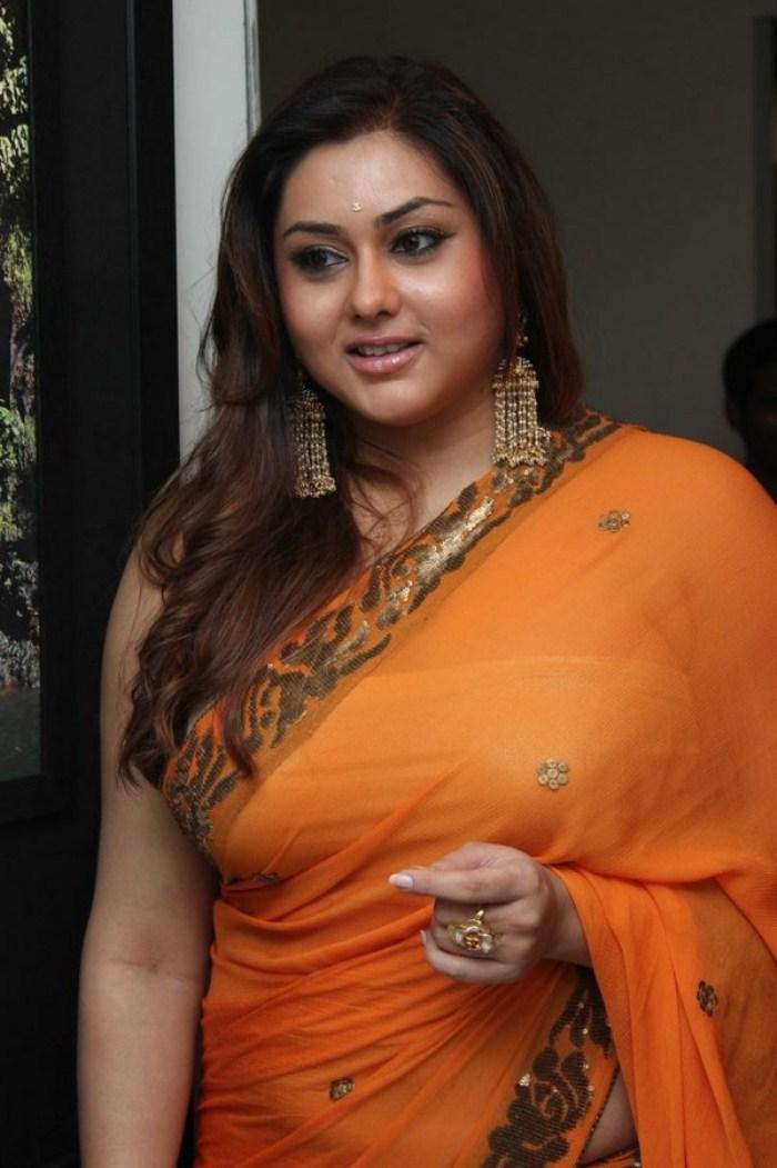Actress Namitha Hot Stills in Orange Saree