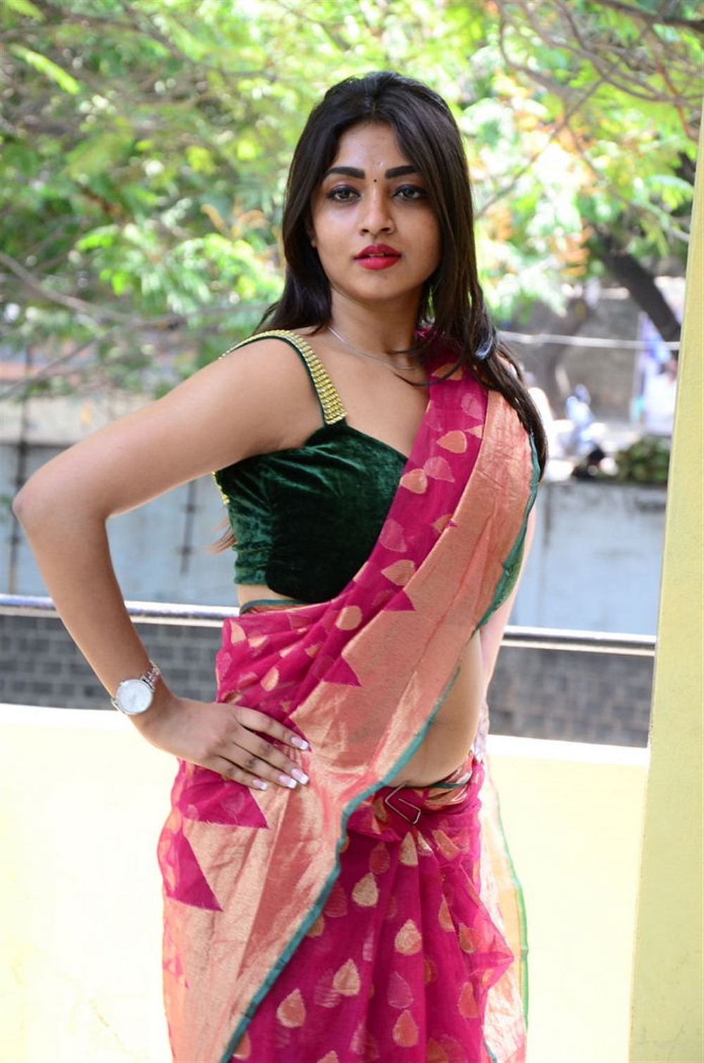 Actress Nandini Hot Saree Photos @ KS 100 Audio Launch