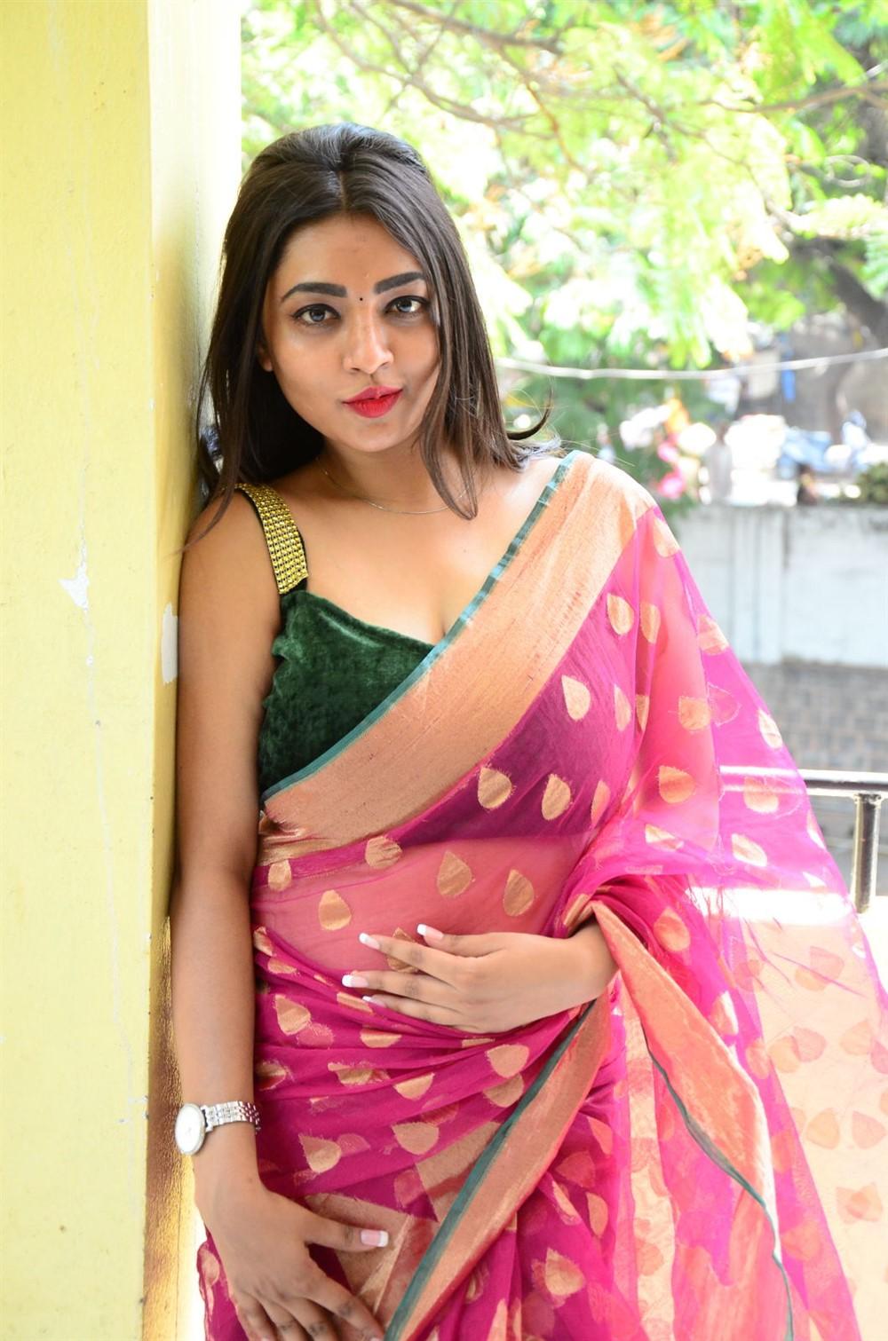 Actress Nandini Saree Photos @ KS 100 Movie Audio Launch