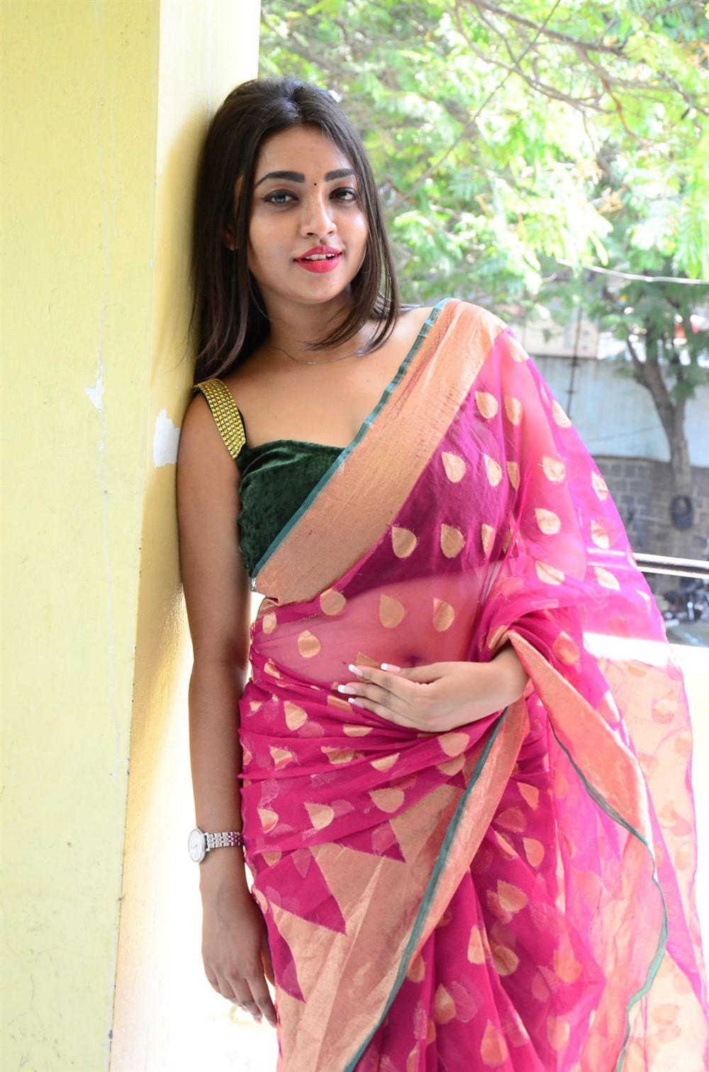 Actress Nandini Saree Photos @ KS 100 Movie Audio Release