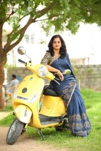 Actress Nanditha Raj Blue Saree Photoshoot for Vishwamitra Movie Images