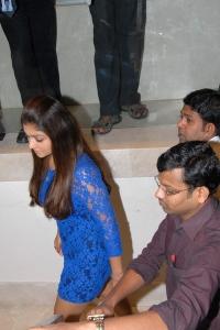 Actress Nayanthara in Hot Blue Dress at Jos Alukkas, Hyderabad