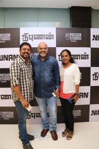 James Vasanthan, Arun Vaidyanathan, Suganthi Vasanthan @ Nibunan Movie Premiere Show Photos
