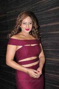 Actress Nikesha Patel Latest Hot Images in Dark Pink Dress