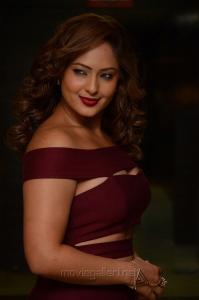 Actress Nikesha Patel Latest Images in Dark Pink Dress