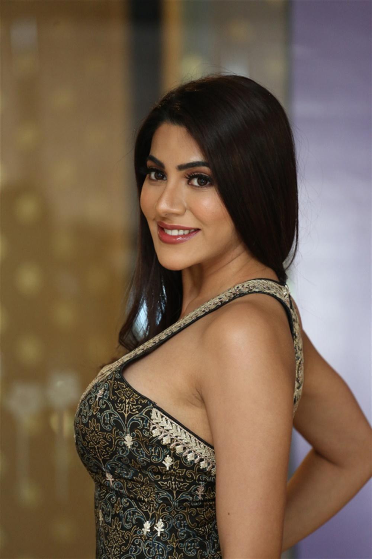 Actress Nikki Tamboli Images @ Kanchana 3 Movie Success Meet
