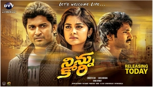 Nani, Nivetha Thomas, Aadhi Pinisetty in Ninnu Kori Movie Release Posters