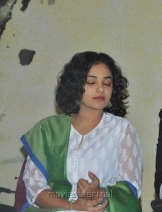 Tamil Actress Nitya Menon Cute Images in White Churidar Dress