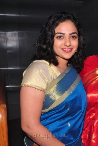 Nithya Menon Saree Pictures @ Malini 22 Audio Launch