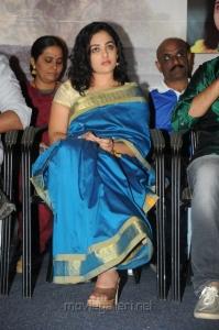 Nithya Menon in Blue Saree Pictures @ Malini 22 Audio Release