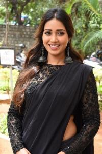 Actress Nivetha Pethuraj Black Saree Stills @ Paagal Trailer Launch