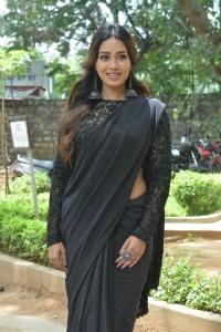 Paagal Movie Actress Nivetha Pethuraj Black Saree Stills