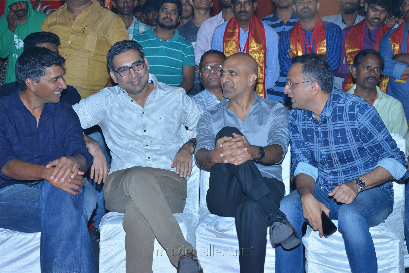 Prakash Kovelamudi, Shobu Yarlagadda, Prasad Devineni @ Om Namo Venkatesaya Audio Release Function Photos
