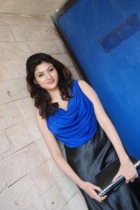 Oviya Helen Hot Stills in Blue Dress